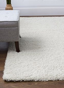 Ivory White Shag Rug, 6-Feet 7-Inch by 9-Feet 6-Inch, 7×10 Stain-Resistant Non-Shed Living  ...