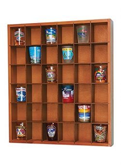 Wood Shot Glass Wall Curio Display Case – Natural