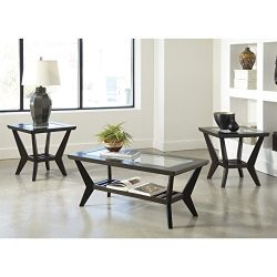Ashley Furniture Signature Design – Lanquist Occasional Table Set – Glass Tops and O ...