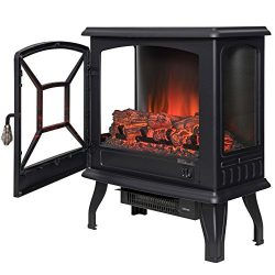 AKDY 20″ Retro-Style Floor Freestanding Vintage Electric Stove Heater Fireplace (3 sides f ...