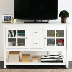 WE Furniture 52″ Console Table Wood TV Stand Console, White