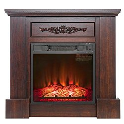 FIREBIRD 32″ Freestanding Insert Brown Wooden Push Button Control Electric Fireplace Stove ...