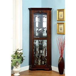 Furniture of America Lennie Traditional Corner Curio Cabinet in Walnut