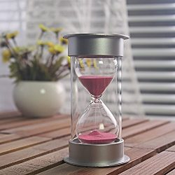 45 Minutes Hourglass,Siveit Modern Sand Timer with Pink Sand for Mantel Office Desk Coffee Table ...
