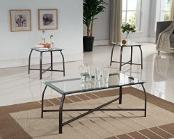 Kings Brand Furniture 3 Piece Glass Top Coffee Table & 2 End Tables Occasional Set, Bronze