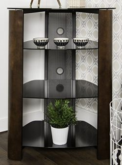 WE Furniture 35″ Glass Media Storage Tower, Espresso