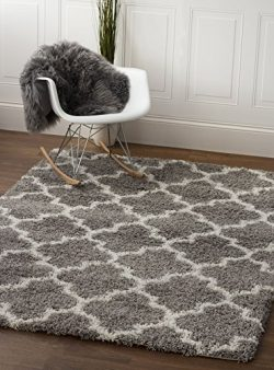 Gray & White Trellis Shag Rug, 5-Feet by 7-Feet 2-Inch, 5×7 Solid & Thick Stain-Res ...