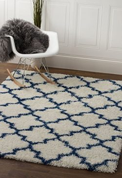 White & Blue Trellis Shag Rug, 5-Feet by 7-Feet 2-Inch, 5×7 Solid & Thick Stain-Res ...
