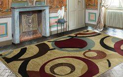 Ottomanson Royal Collection Beige Contemporary Abstract Circle Design Area Rug, 7'10&#8243 ...
