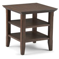 Simpli Home Acadian Solid Wood End Side Table, Farmhouse Brown