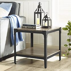 WE Furniture Angle Iron Wood End Tables in Driftwood – Set of 2