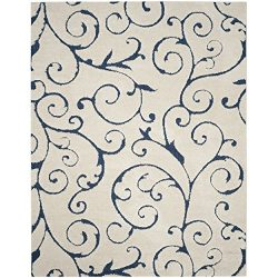 Safavieh Florida Shag Collection SG455-1165 Scrolling Vine Cream and Blue Graceful Swirl Area Ru ...