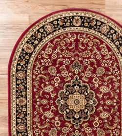 "Persian Classic Red Burgundy 5'3″ x 6'10"" OVAL Area Rug Oriental Floral  ..."