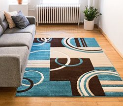 Echo Shapes & Circles Blue & Brown Modern Geometric Comfy Casual Hand Carved Area Rug 5& ...