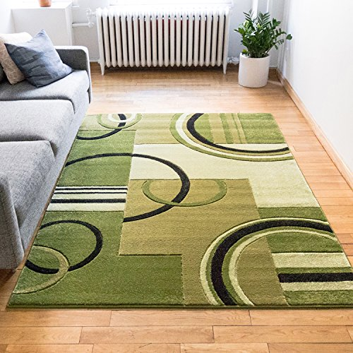 Echo Shapes & Circles Light Green Modern Geometric Comfy Casual Hand Carved Area Rug 5× ...