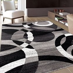 Rugshop Contemporary Modern Circles Abstract Area Rug, 5'3″ x 7'3″, Gray