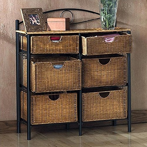 6 Drawer Wicker Furniture Storage Chest, Black & Natural accent. Made of Fiberboard Elegant  ...
