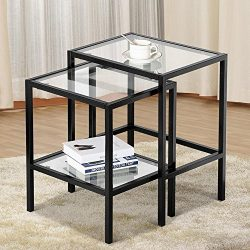 Yaheetech Set of 2 Nesting Tables Side End Tables Glass Top with Shelf Corner Table Sofa Table f ...