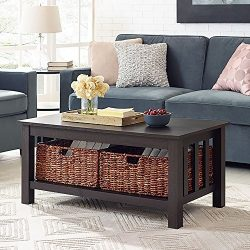 WE Furniture 40″ Wood Storage Coffee Table with Totes – Espresso, 40″,