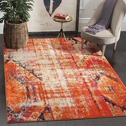 Safavieh Monaco Collection MNC222H Modern Bohemian Orange Distressed Rug (6'7″ Square)