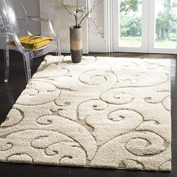 Safavieh Florida Shag Collection SG455-1113 Scrolling Vine Cream and Beige Graceful Swirl Area R ...
