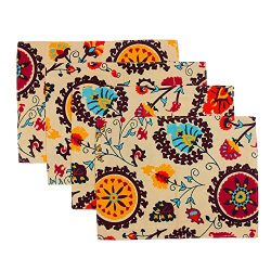 TideTex Bohemia Set of 4 Rural Simple Double Layer Reversible Placemat Sets Table Mats Coffee Di ...