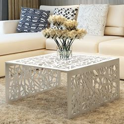 Aluminum Square Coffee End Table Accent Living Room Furniture, Silver