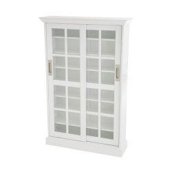 Sliding Door Media Cabinet – White