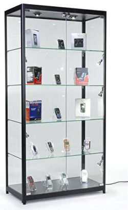 Displays2go Black LED Trophy Showcase, Locking, LED Lighting, Tempered Glass, Laminated MDF &amp ...