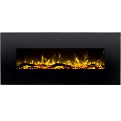 Regal Flame Denali Black 60 Log, Pebble, Crystal, 3 Color Heater Electric Wall Mounted Fireplace ...