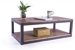 Care Royal Rustic Vintage Industrial Solid Wood and Metal 43.3″ Coffee Table Antique Cockt ...