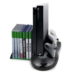 Connyam Xbox One X Vertical Stand with Cooling Fan and Dual Charging Station for Xbox One X Cont ...