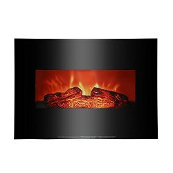 "ROVSUN 26"" Wall Mounted Electric Fireplace 750W/1500W Modern Adjustable Space Heater with  ..."