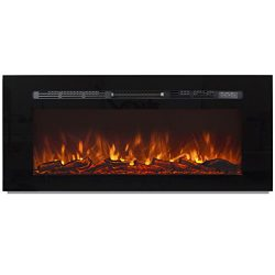 Best Choice Products 1500W 50″ Heat Adjustable In-Wall Recessed Electric Fireplace, Wall M ...