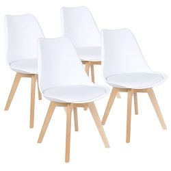 Furmax Eames Style Chair Mid Century Modern DSW Dining Chair Upholstered Side Chair With Beech W ...
