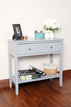 Grey Finish Pattern Design Console Sofa Entry Table with Shelf / Drawer