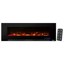 Livingston Ultra-slim LED Wall Mount Electric Fireplace by e-Flame USA – 60-inches Wide – Featur ...