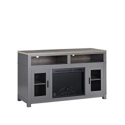 Ameriwood Home Carver Electric Fireplace TV Stand for TVs up to 60″ Wide, Gray