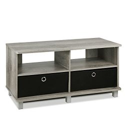 FURINNO 11156GYW/BK Entertainment Center W/2 Bin Drawers, French Oak Grey