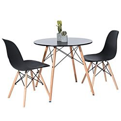 Kitchen Dining Table Round Coffee Table Black Collection Modern Leisure Wood Tea Table Office Co ...
