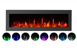 GMHome 50″Electric Fireplace Wall Mounted Heater Freestanding Fireplace Crystal Stone Flam ...
