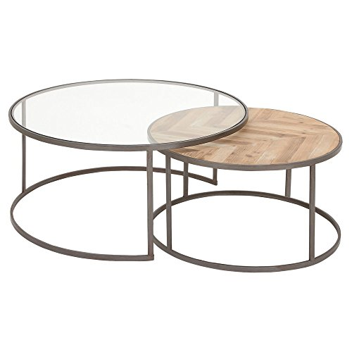 Deco 79 44391 Round Metal And Wood Coffee Tables (Set Of 2