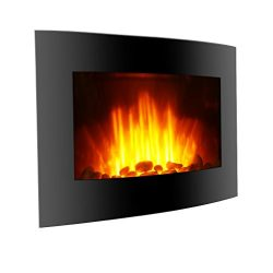 Finether 1500W Adjustable Wall Mounted Electric Fireplace Heater with 3D Patented Flame, 7 Color ...