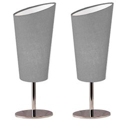 Lightaccents Table Lamp Set Chrome Base with Fabric Modern Grey Shade (Set of 2)