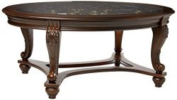 Ashley Furniture Signature Design – Norcastle Glass Top Coffee Table – Cocktail Heig ...