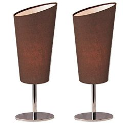 Lightaccents Table Lamp Set Chrome Base with Fabric Modern Coffee Color Shades (Set of 2)