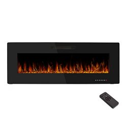 "50"" Electric Fireplace,Wall Mounted & In-wall Recessed Electric Heater,Remote Control, ..."