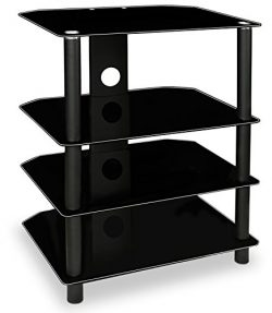 Mount-It! AV Component Media Stand, Glass Shelves, Audio Video Components, Storage for Xbox, Pla ...
