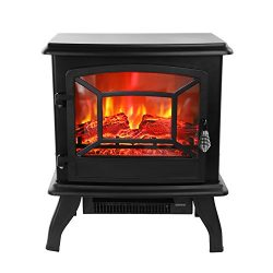 ROVSUN 20″H Electric Fireplace Stove Space Heater 1400W Portable Freestanding with Thermos ...