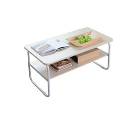 Home-Like Simple Contemporary Coffee Table 2-Tier Cocktail Table Ample Space Side Table TV Stand ...
